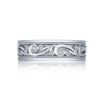 Tacori Platinum Sculpted Crescent Carved Wedding Band