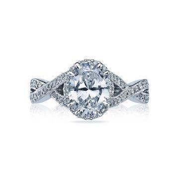 Tacori Dantela Platinum Halo Engagement Ring 2627ovlg