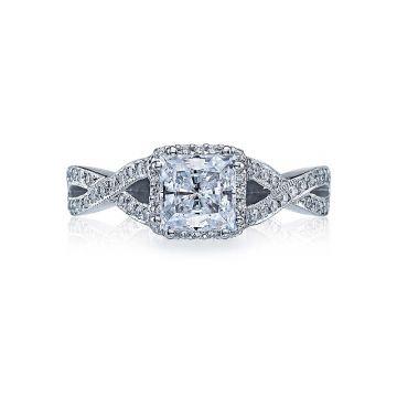 Tacori Dantela Platinum Halo Engagement Ring 2627prmd