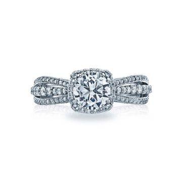 Tacori Dantela Platinum Halo Engagement Ring 2641cup65