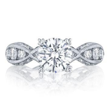 Tacori Platinum  Classic Crescent Criss Cross Diamond Engagement Ring