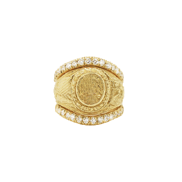 The 1876 14k Yellow Gold Diamond Ring Guard