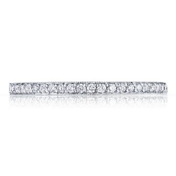 Tacori 18k White Gold Sculpted Crescent Anniversary Diamond Women's Wedding Band