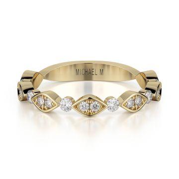 Michael M 18k Yellow Gold Diamond Wedding Band