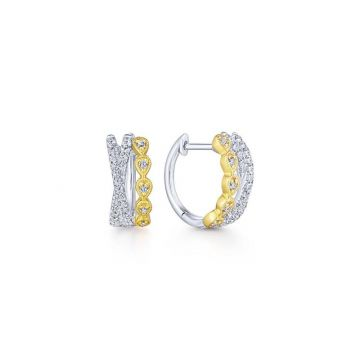 Gabriel & Co. 14k Two Tone Contemporary Diamond Huggie Earrings