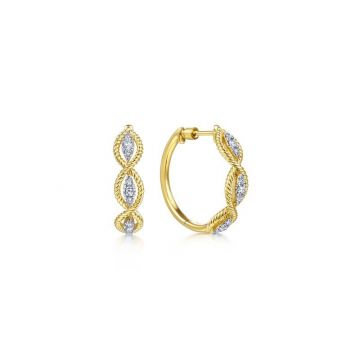 Gabriel & Co. 14k Yellow Gold Hampton Diamond Hoop Earrings