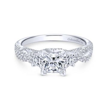 Gabriel & Co. 14k White Gold Contemporary 3 Stone Engagement Ring