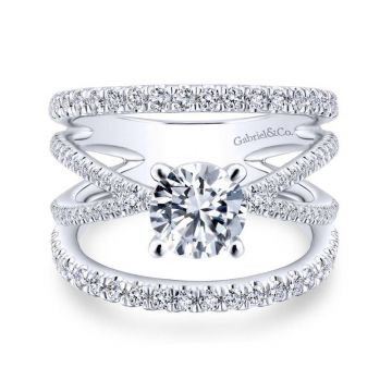 Gabriel & Co. 14k White Gold Nova Free Form Engagement Ring