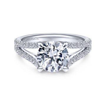 Gabriel & Co. 14k White Gold Contemporary Split Shank Engagement Ring