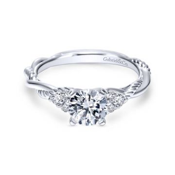 Gabriel & Co. 14k White Gold Hampton Twisted Engagement Ring