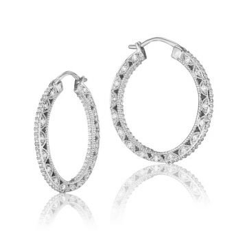 Tacori 18k White Gold Classic Crescent Diamond Hoop Earring .70 CTTW