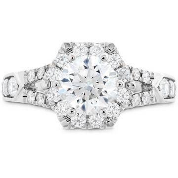 Hearts on Fire 18k White Gold Diamond Split Shank Halo Engagement Ring