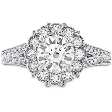 Hearts on Fire 18k White Gold Liliana Diamond Split Shank Halo Engagement Ring
