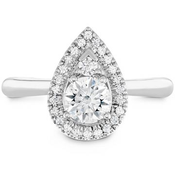 Hearts on Fire 18k White Gold Destiny Diamond Halo Engagement Ring