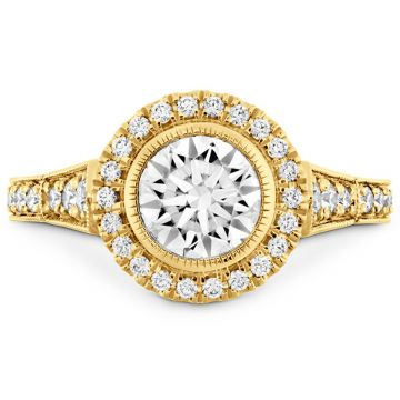 Hearts on Fire 18k Yellow Gold Deco Chic Diamond Halo Engagement Ring
