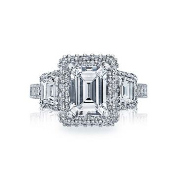 Tacori Platinum Blooming Beauties 3 Stone Engagement Ring