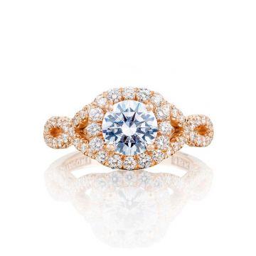Tacori 18k Rose Gold Petite Crescent Halo Engagement Ring