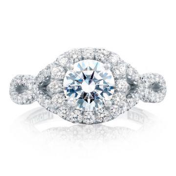 Tacori Platinum  Petite Crescent Criss Cross Diamond Engagement Ring