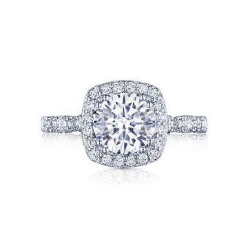 Tacori Platinum Petite Crescent Halo Engagement Ring