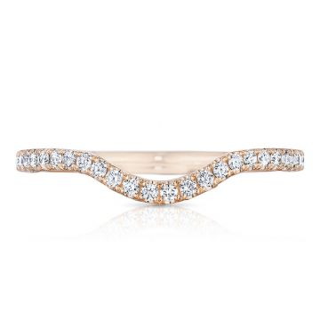 Tacori 18k Rose Gold Petite Crescent Diamond Curved Women's Wedding Band