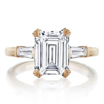 Tacori 18k Rose Gold RoyalT 3 Stone Diamond Engagement Ring