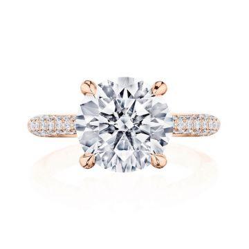 Tacori 18k Rose Gold RoyalT Straight Diamond Engagement Ring