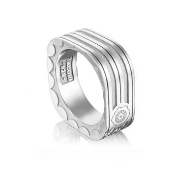Tacori Silver Monterey Roadster Square Racing Lines Ring
