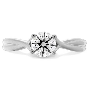 Hearts on Fire 18k White Gold Simply Bridal Twisted Diamond Engagement Ring