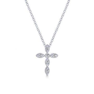 Gabriel & Co. 14k White Gold Faith Diamond Religious Cross Necklace