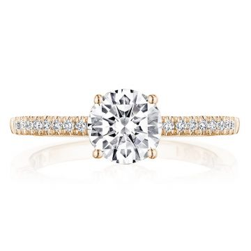 Tacori 14k Rose Gold Coastal Crescent Straight Diamond Engagement Ring