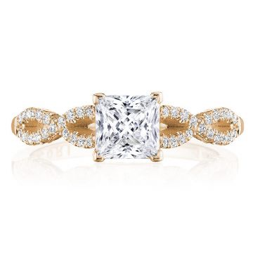 Tacori 14k Rose Gold Coastal Crescent Criss Cross Diamond Engagement Ring