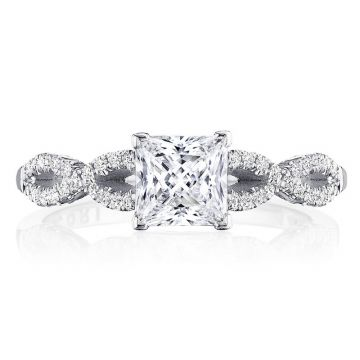 Tacori 14k White Gold Coastal Crescent Criss Cross Diamond Engagement Ring