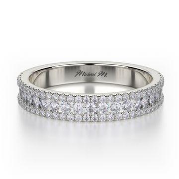 Michael M 18k White Gold Europa  Diamond Wedding Band