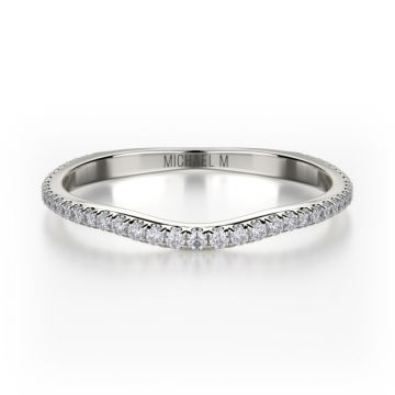 Michael M 18k White Gold Diamond Europa Curved Women's Wedding Band