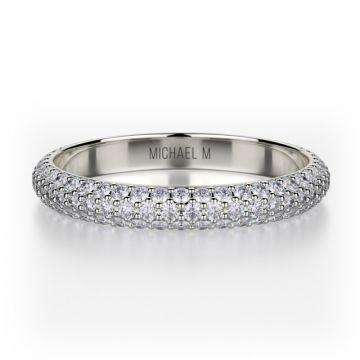 Michael M 18k White Gold Crown  Diamond Anniversary Women's Wedding Band