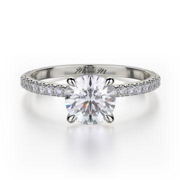 Michael M 18k White Gold Straight Engagement Ring