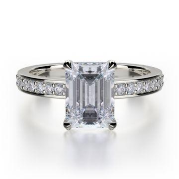 Michael M 18k White Gold Bold Diamond Straight Engagement Ring