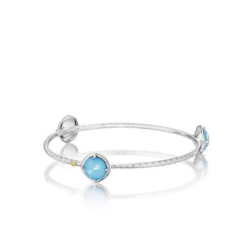 Tacori Silver Color Pop Bold Trio Neo-Turquoise Bangle Bracelet