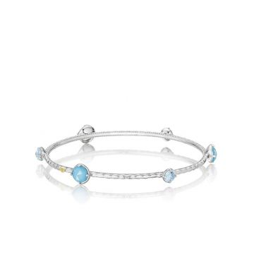 Tacori Silver Color Pop Multi Assorted Stones Bangle Bracelet