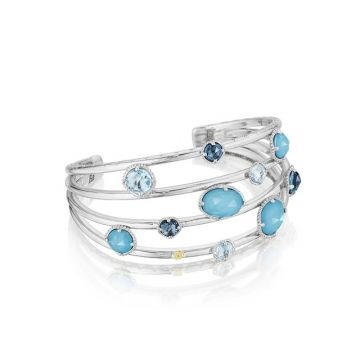 Tacori Silver Floating Cuff Assorted Stones Bangle Bracelet