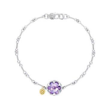 Tacori Silver Crescent Stone Amethyst Bangle Bracelet
