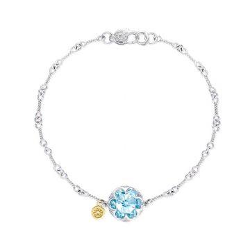 Tacori Silver Crescent Stone Sky Blue Topaz Bangle Bracelet