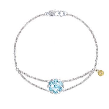 Tacori Silver Split Chain Sky Blue Topaz Bangle Bracelet