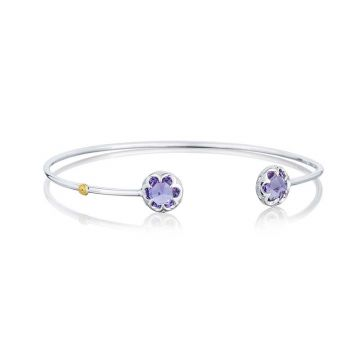 Tacori Silver Crescent Bezel Amethyst Cuff Bracelet