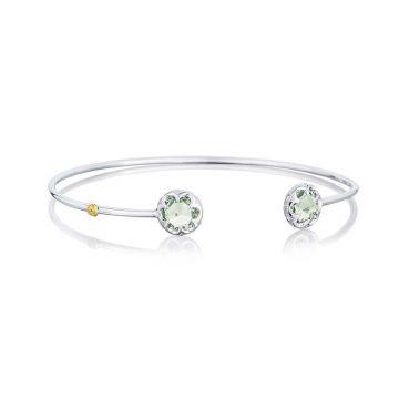 Tacori Silver Crescent Bezel Prasiolite Cuff Bracelet