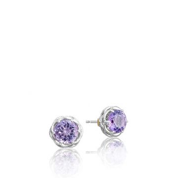 Tacori Silver Crescent Crown Amethyst Stud Earrings