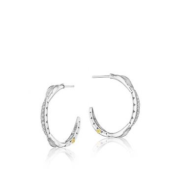 Tacori Sterling Silver Petite Curve Diamond Hoop Earrings