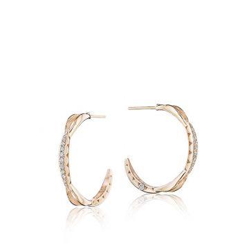 Tacori 18k Rose Gold Curve Diamond Hoop Earrings