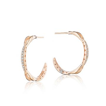 Tacori 18k Rose Gold The Ivy Lane Diamond Hoop Earring