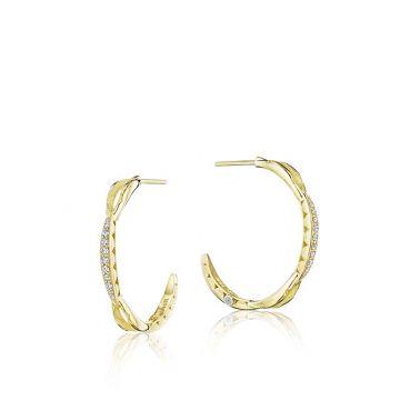 Tacori 18k Yellow Gold Diamond Hoop Earrings